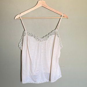 Vintage ivory lace trimmed tank top size medium